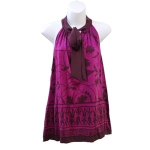 Hale Bob Purple Silk Haulter Style Sleeveless Top